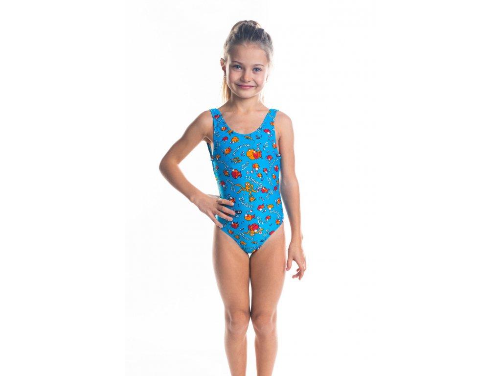 Dívčí plavky jednodílné - tyrkysové s rybičkovým vzorem