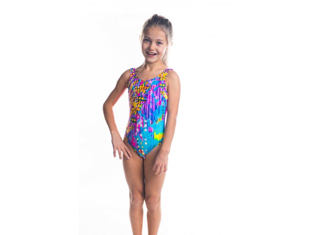 Dívčí plavky jednodílné - růžové s barveným vzorem