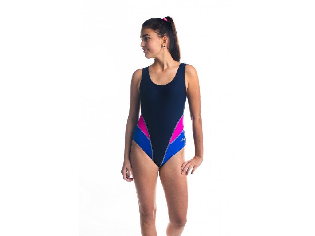 Dívčí plavky jednodílné sportovní - tmavě modré s růžovo-modrým vzorem
