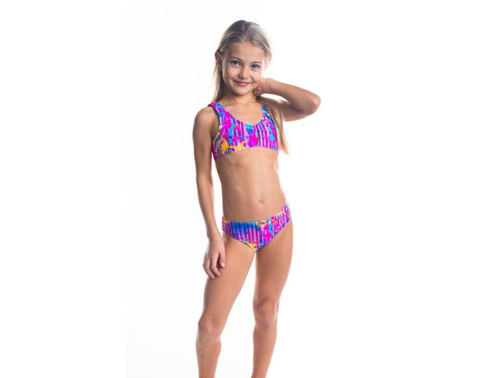 Dívčí plavky dvoudílné - růžové s barevným vzorem