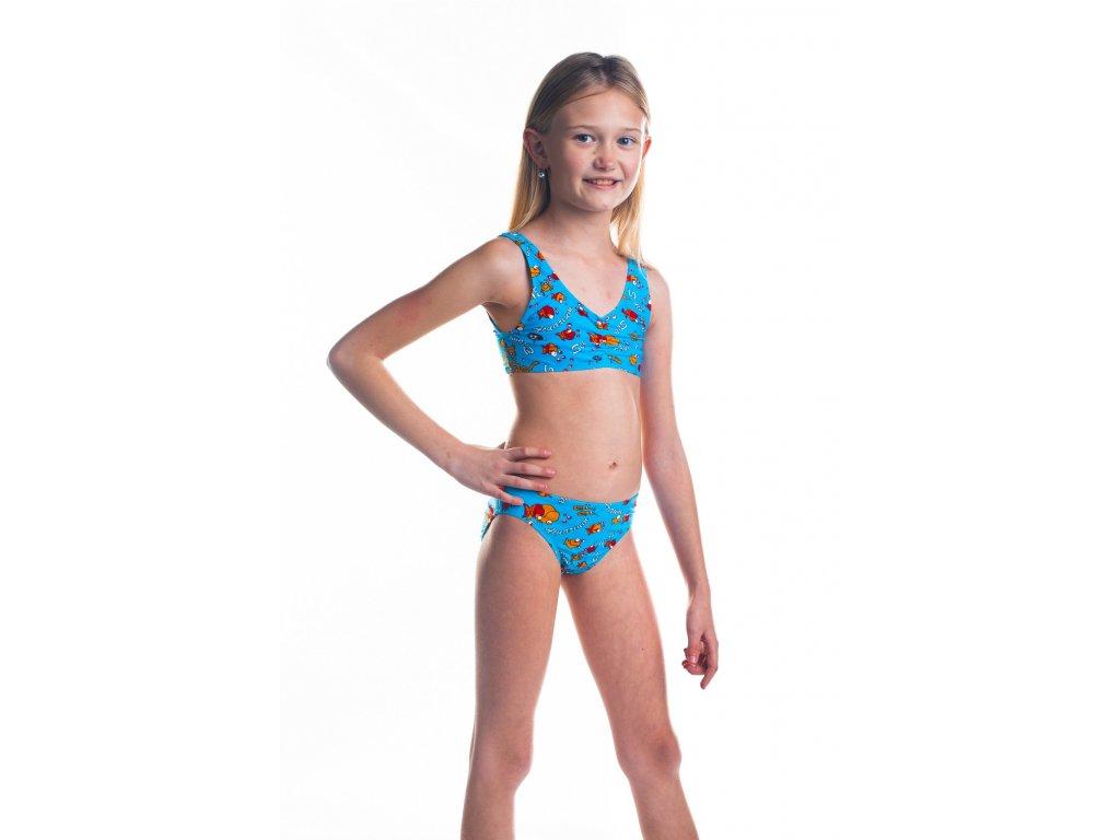 Dívčí plavky dvoudílné - tyrkysové s rybičkovým vzorem