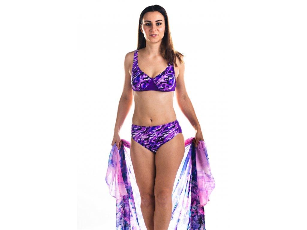 Dámské plavky dvoudílné - fialové se vzorem vody