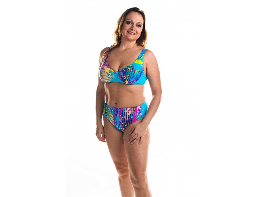 Dámské plavky dvoudílné - tyrkysové s barevným vzorem