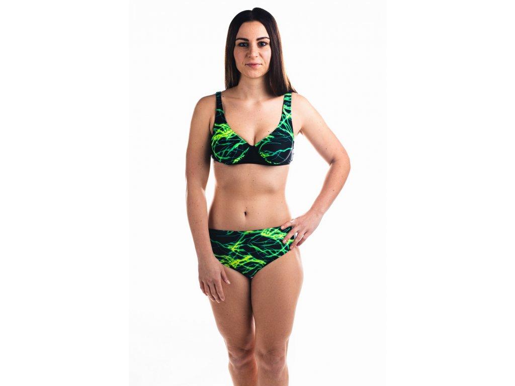 Dámské plavky dvoudílné - s černo-zeleným vzorem