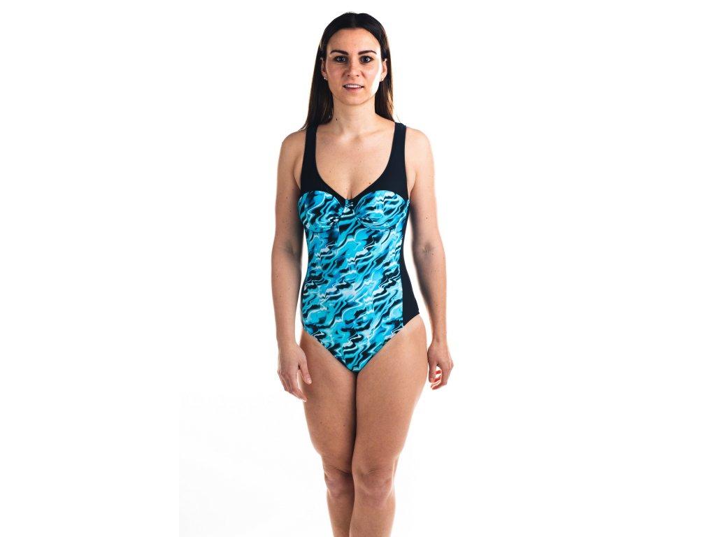 Dámské plavky jednodílné - černo-modré se vzorem vody