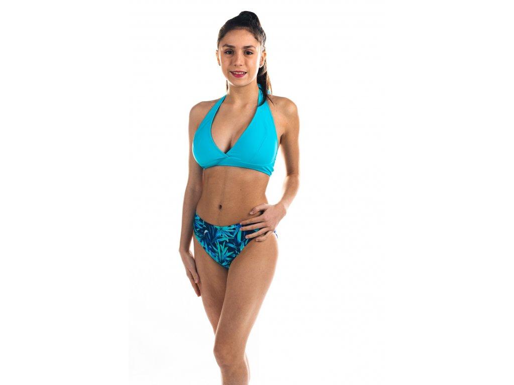 Dámské plavky dvoudílné - modro-tyrkysové se vzorem