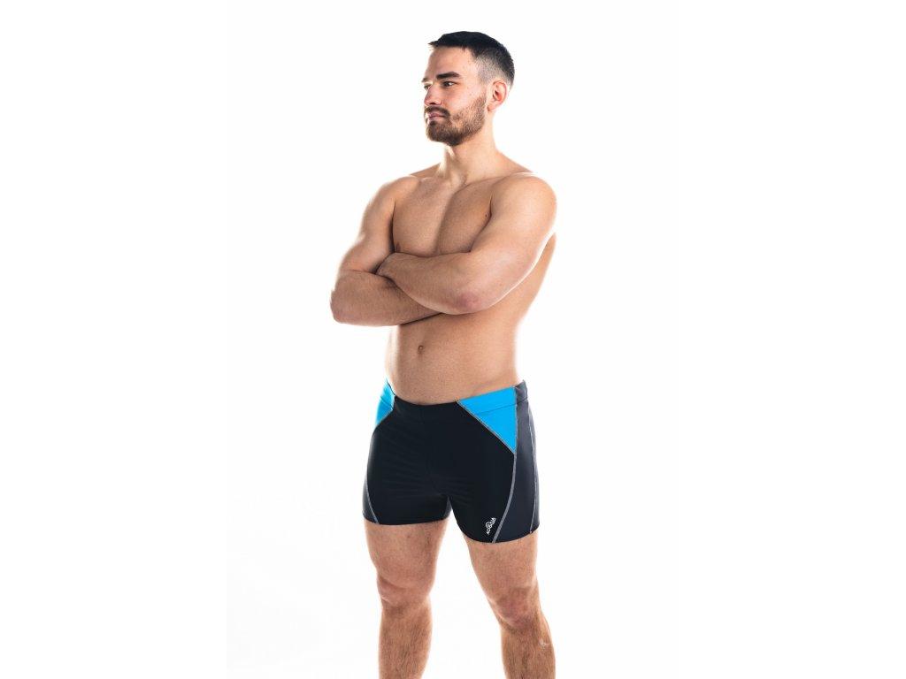 Pánské plavky s nohavičkou - černo-šedé s tyrkysovou