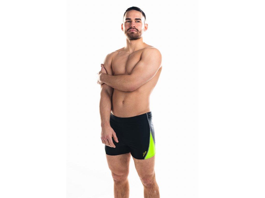 Pánské plavky s nohavičkou - černo-zelené
