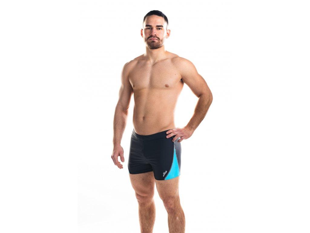 Pánské plavky s nohavičkou - tmavě šedo-tyrkysové