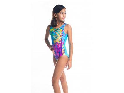 Dívčí plavky jednodílné - tyrkysové s barveným vzorem