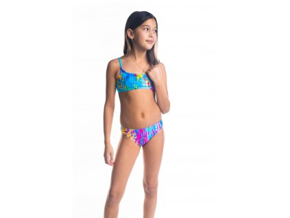 Dívčí plavky dvoudílné s úzkým ramínkem - tyrkysové s barevným vzorem
