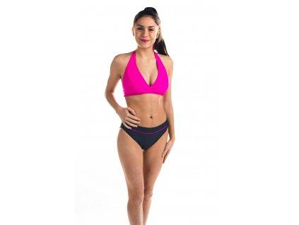 Dámské plavky dvoudílné - šedo-růžové