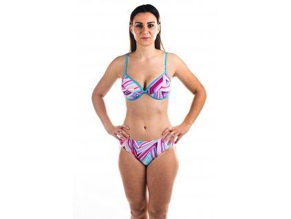 Dámské plavky dvoudílné - polobrazilky s barevným vzorem