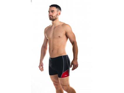 Pánské plavky s nohavičkou - černo-červené