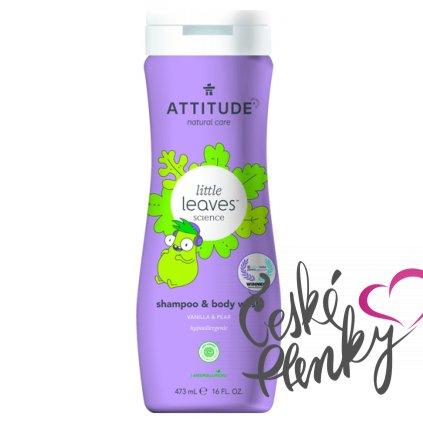 Dětské tělové mýdlo a šampon (2 v 1) ATTITUDE Little leaves s vůní vanilky a hrušky 473 ml
