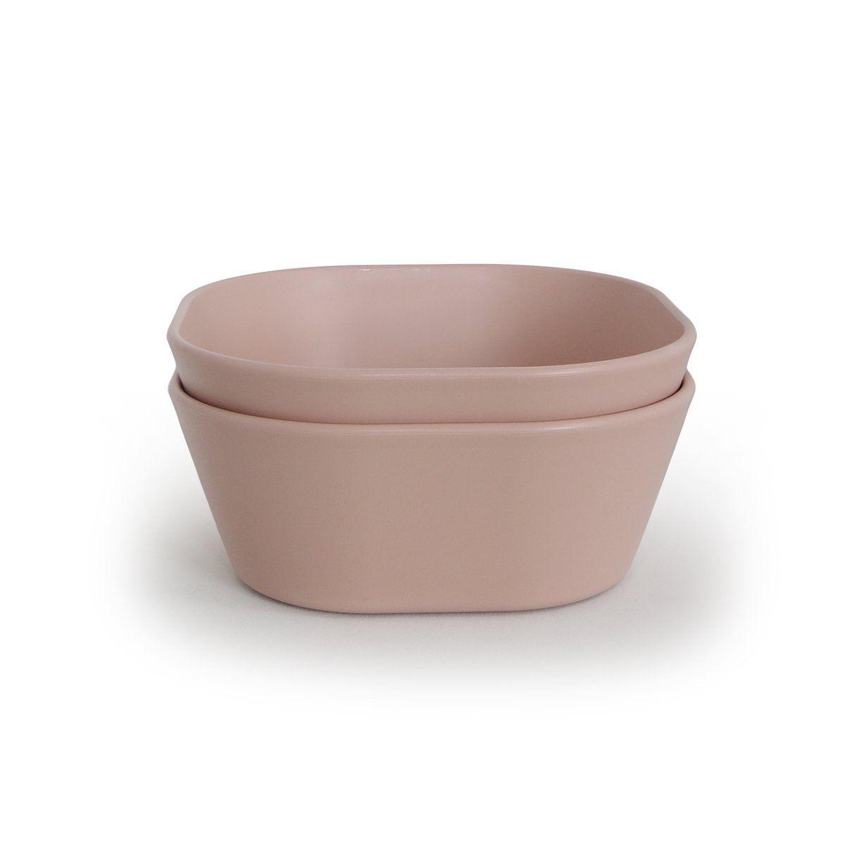 Mushie - hranatá miska 2 ks - Blush