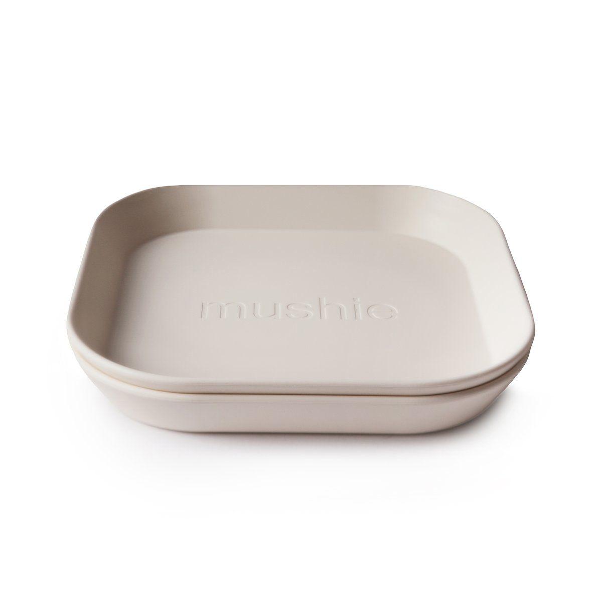 Mushie - hranatý talíř 2ks - Ivory