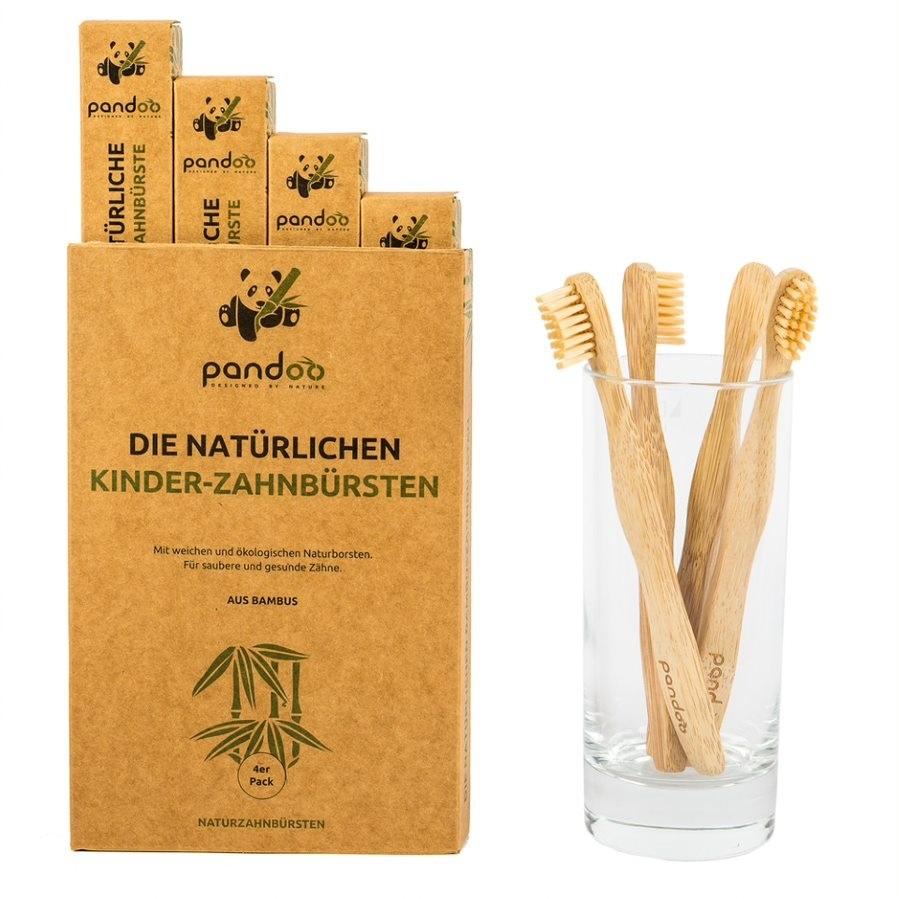 Bambusové dětské zubní kartáčky Pandoo - výhodné balení 4 ks
