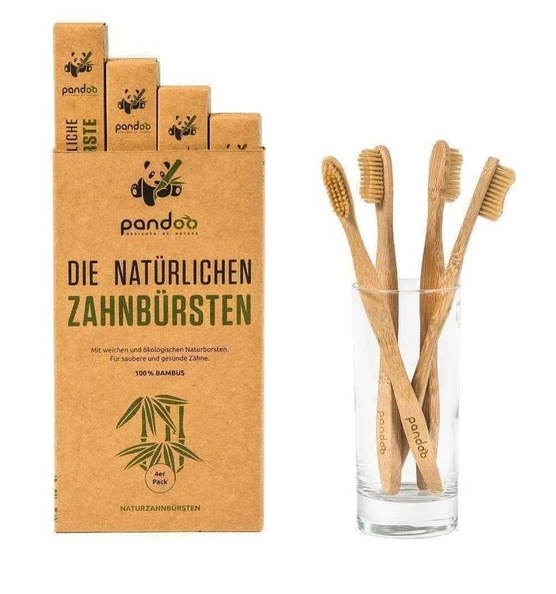 Bambusové zubní kartáčky Pandoo - výhodné balení 4 ks