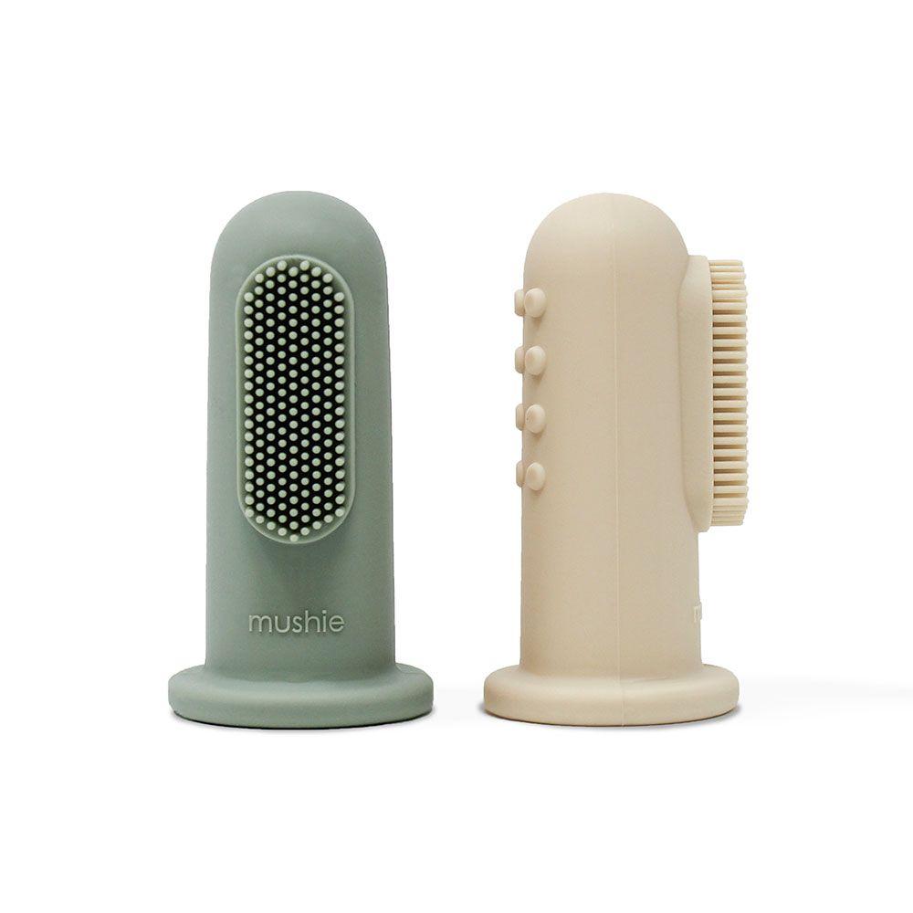 MUSHIE - silikonový zubní kartáček na prst SHIFTING SAND + CAMBRIDGE BLUE