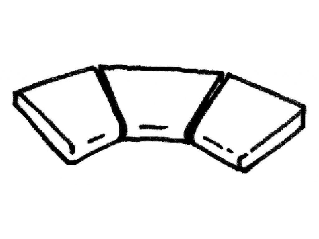 Dlažba Sahara - rohová plochá dlaždice R 500 int., 3ks
