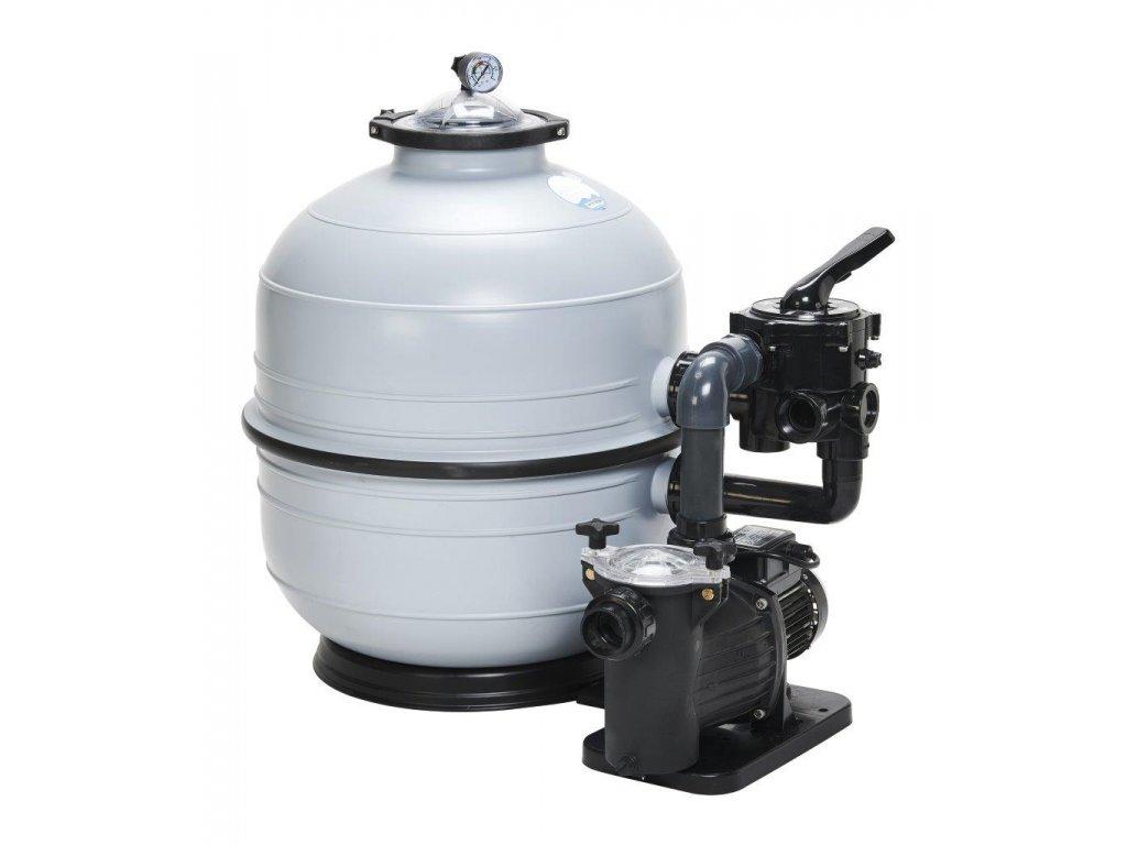 Filtrační zařízení KIT MIDI 400, 6 m3h 1, 230 V, 6 ti cest. boč. ventil, čerp. Preva