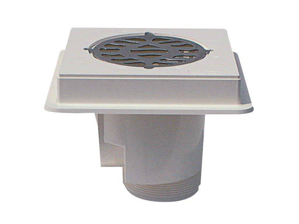 Podlahová výpust ABS, nerez mřížka AISI 316, pro beton 1