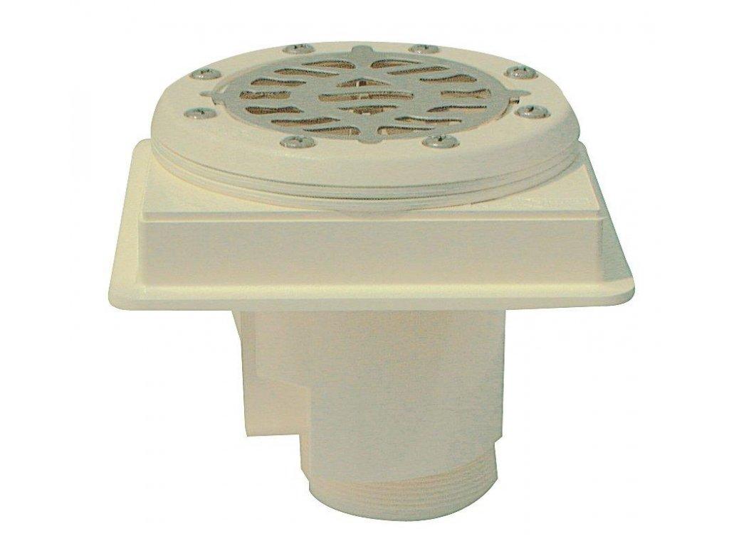 Podlahová výpust ABS, nerez mřížka AISI 316, pro fólii 1