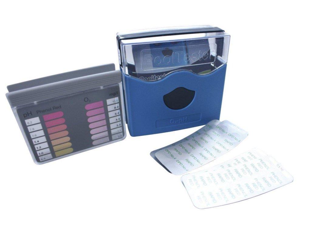 """Tester DPD """"D"""" – Oxy a pH – metoda pomocí tablet,lovibond,barva modrá"""