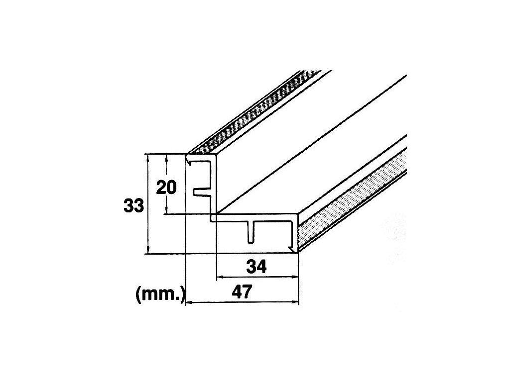Roll rošt – hrana (MP200 LAF) přelivného žlábku, délka 2 m