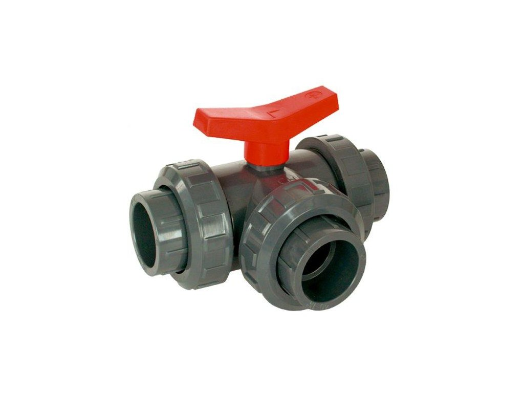 PVC Kulový třícestný ventil 20 mm L