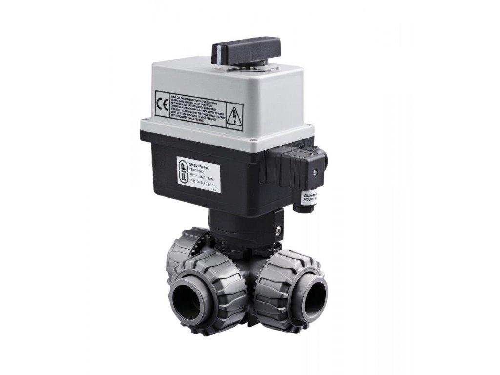 PVC Kulový el. třícestný ventil 50 mm  FIP-T