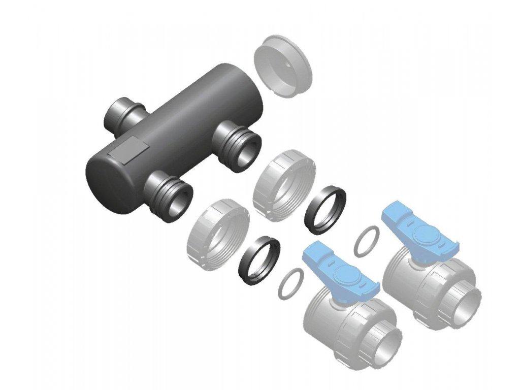 Sběrací potrubí – napojení 63mm lepením,2x přímé napojení ventilu 50mm