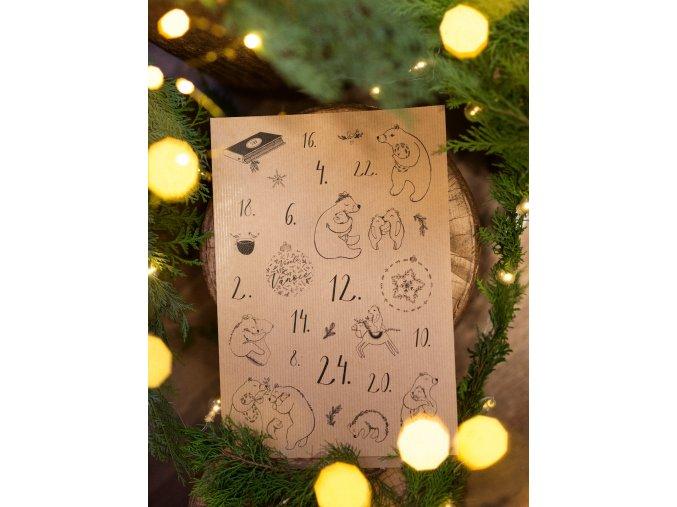 Rozkvetlá samolepky adventní kalendář