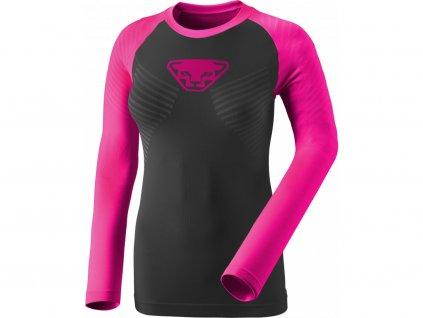 Dámské funkční triko DYNAFIT SPEED DRYARN W L/S TEE (Barva Pink Glo, Velikost 34/XS)