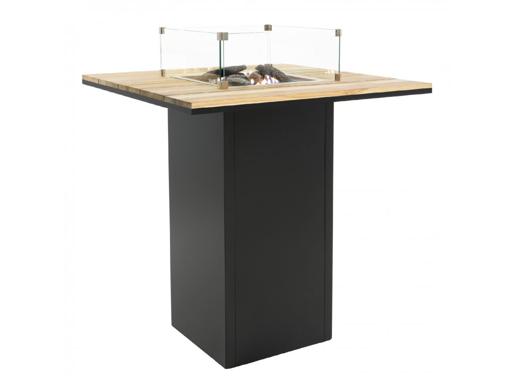 5980110 Cosiloft 100 bar table black teak with glass set