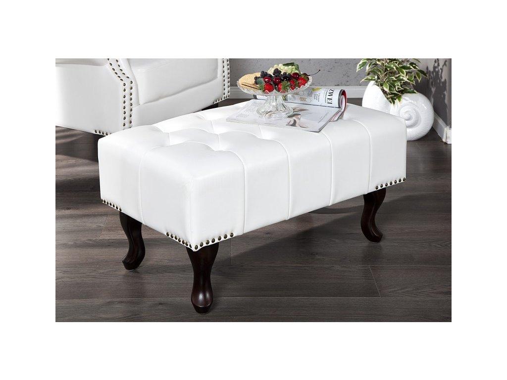 Luxusní taburet - Benito, bílý