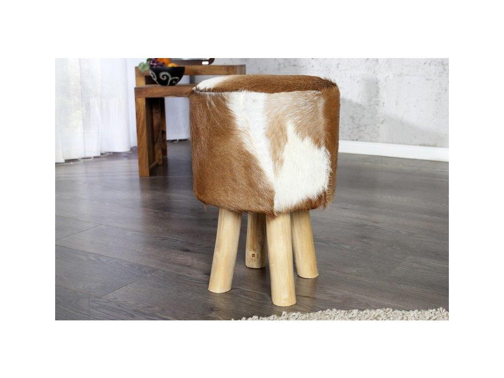 Stylový taburet - Cow Hide Brown, hovězí kůže