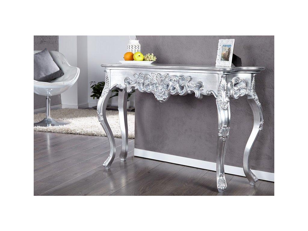 Klasický konferenční stolek - Rococo, stříbrný