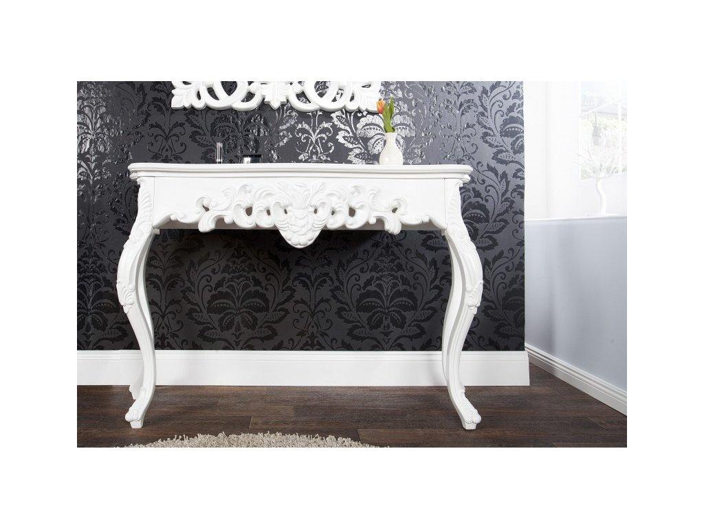 Klasický konferenční stolek - Rococo, bílý