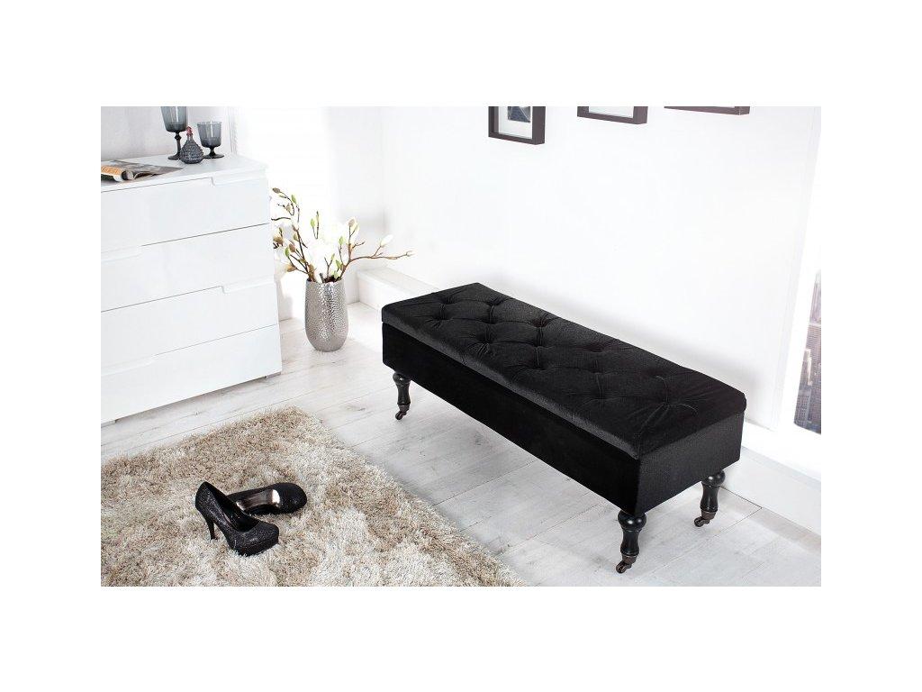 Luxusní taburet - Orleans, černý