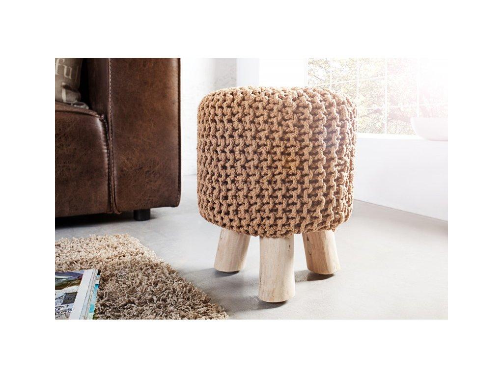 Stylový taburet - Leo, kávový