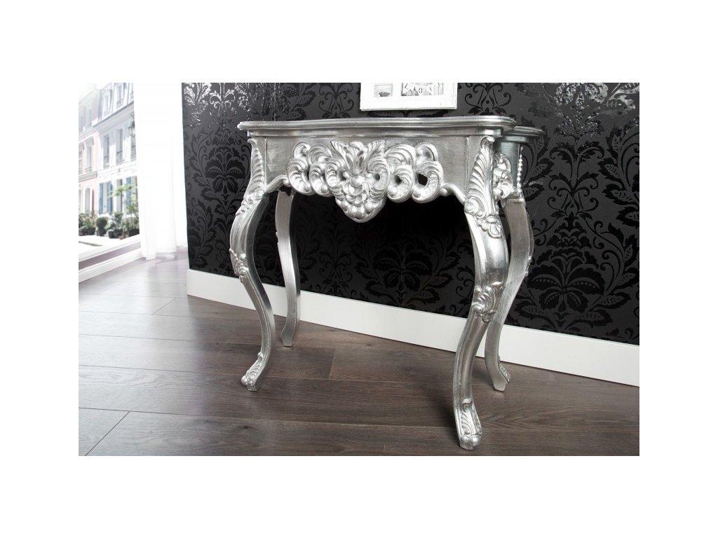 Klasický odkládací stolek - Rococo (malý), stříbrný