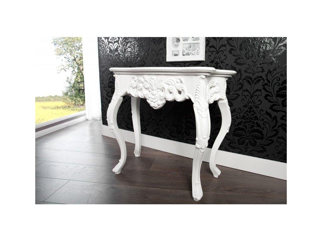 Klasický odkládací stolek - Rococo (malý), bílý