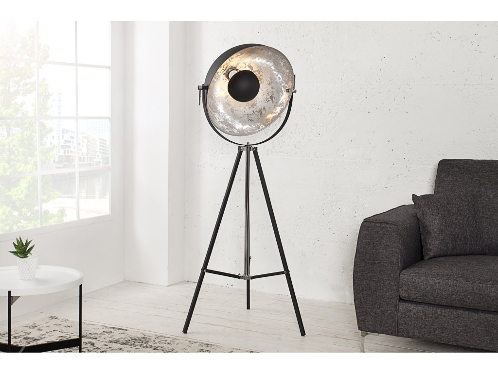 Retro stojací lampa - Rebecca, stříbrná