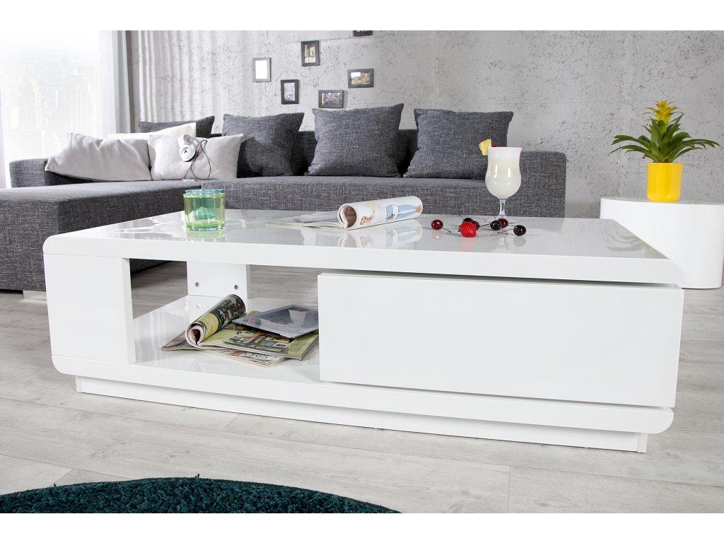 Moderní konfereční stolek - Jasmin, bílý
