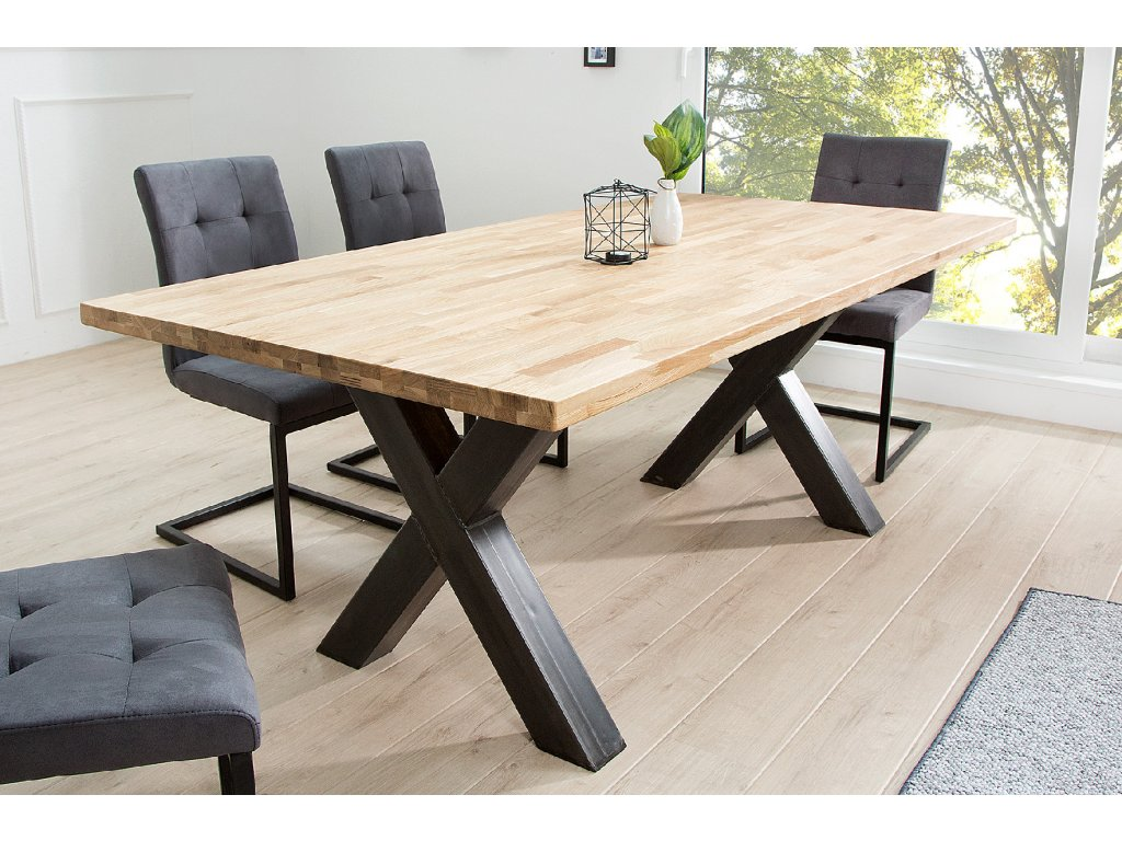 Masivní jídelní stůl - Industrial (X)