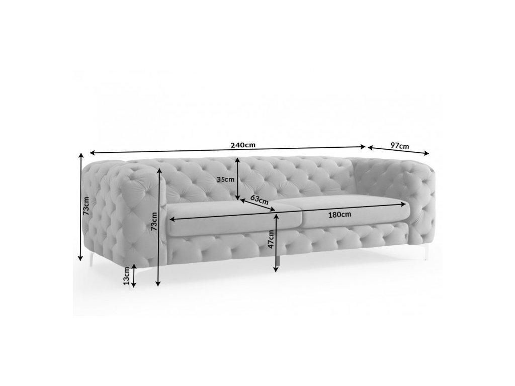 Luxusní pohovka - Igino, šedá