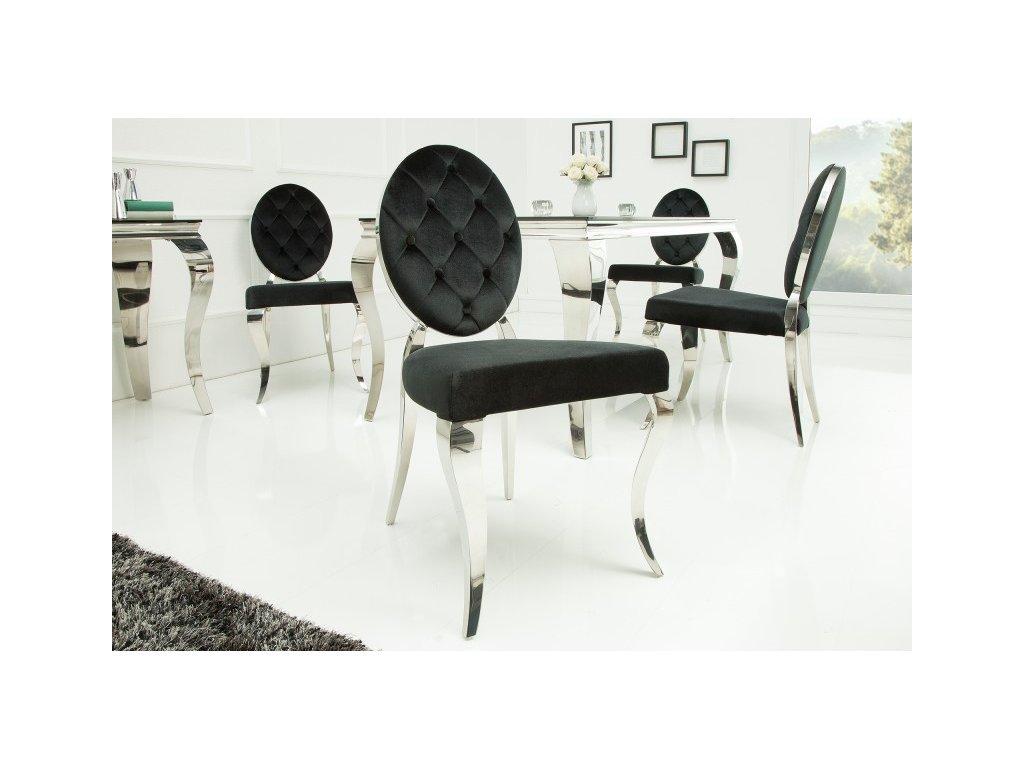 Designová židle -  barocco kulatá,černá