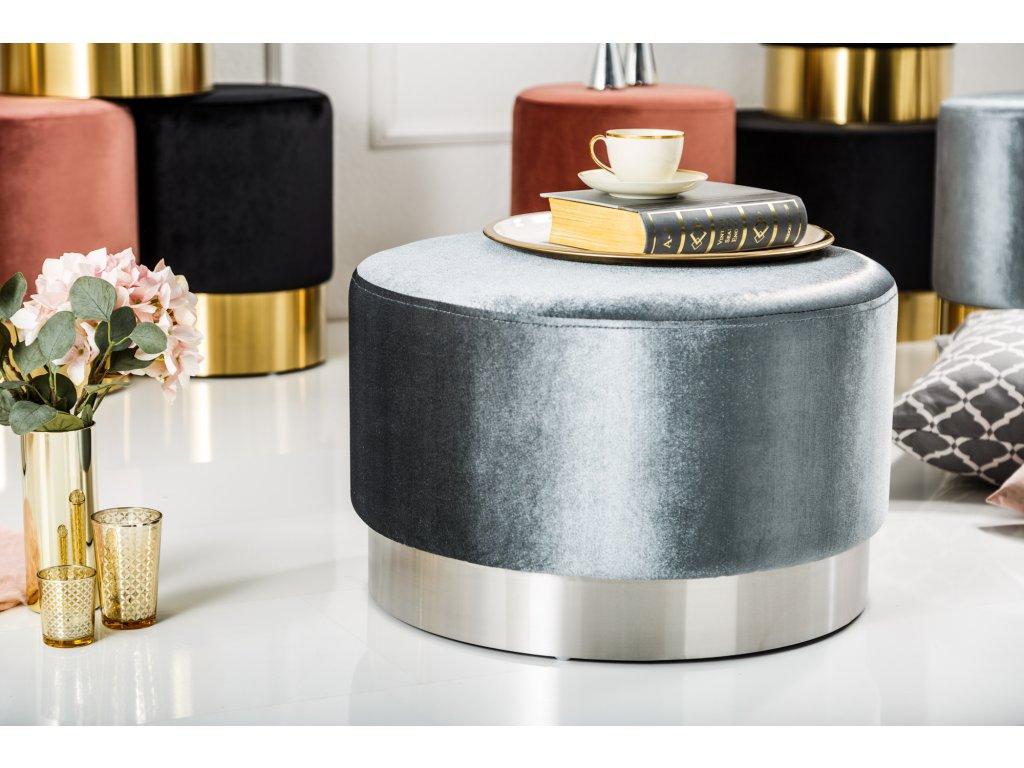 Stylový taburet - Baroko, stříbrný